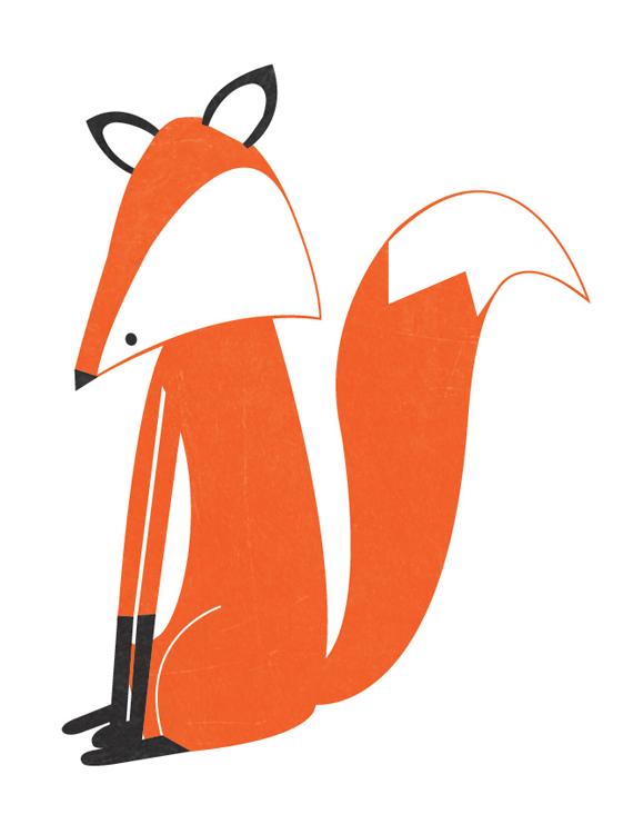 Sitting fox illustration - photo#10